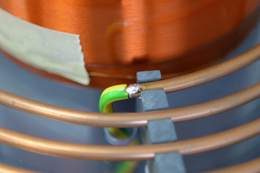 Lötverbindung zwischen Primärspule und 10mm²-Kabel