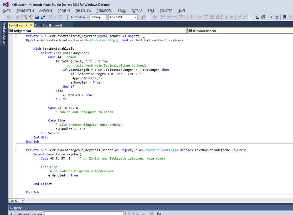 Auszüge aus dem Code des Kalkulationsprogrammes